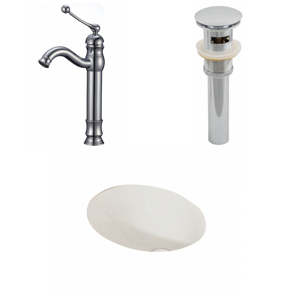 19 1/4-inch W x 16-inch D Oval Sink Set with Deck-Mount Faucet and Drain in Biscuit