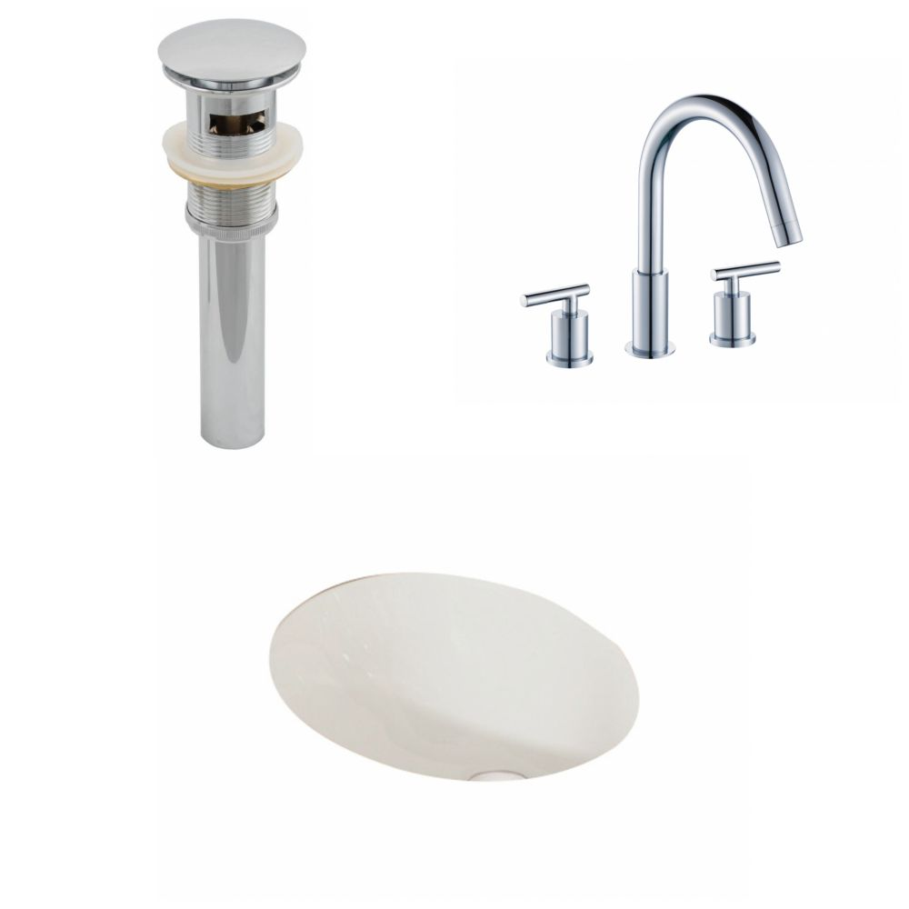 19 1/4-inch W x 16-inch D Oval Sink Set with 8-inch O.C. Faucet and Drain in Biscuit