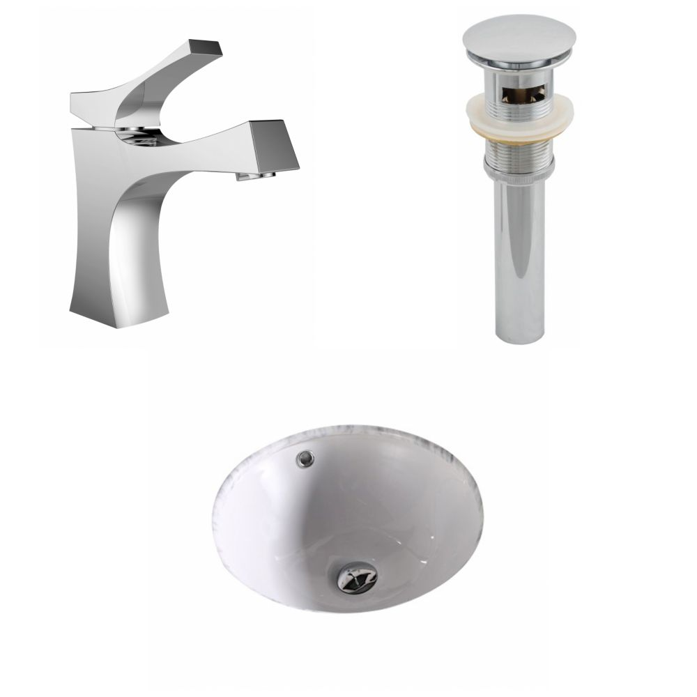 15 3/4-inch W x 15 3/4-inch D Round Sink Set with Single Hole Installation in White