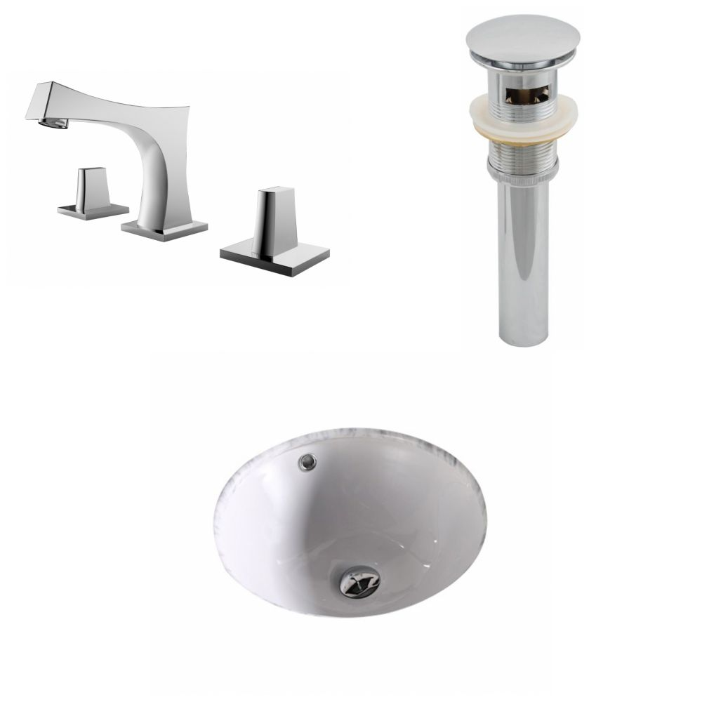 American Imaginations 15 3/4-inch W x 15 3/4-inch D Round Sink Set with 8-inch O.C. Holes in White