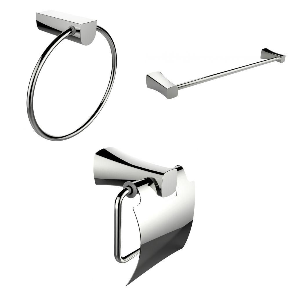 Modern Towel Ring, Single Rod Towel Rack And Toilet Paper Holder Accessory Set