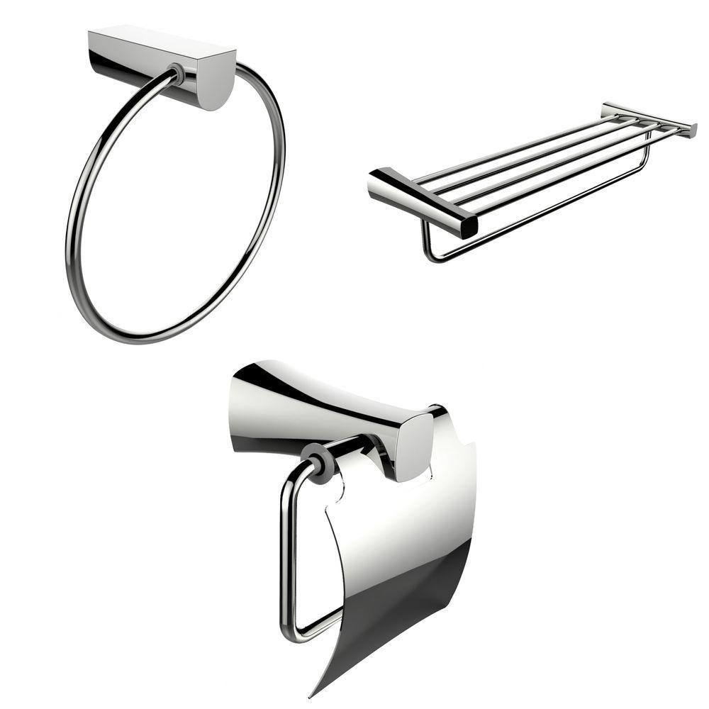 Anneau de serviette de Chrome, multi-Rod Rack de serviette et porte papier toilette Accessory Set