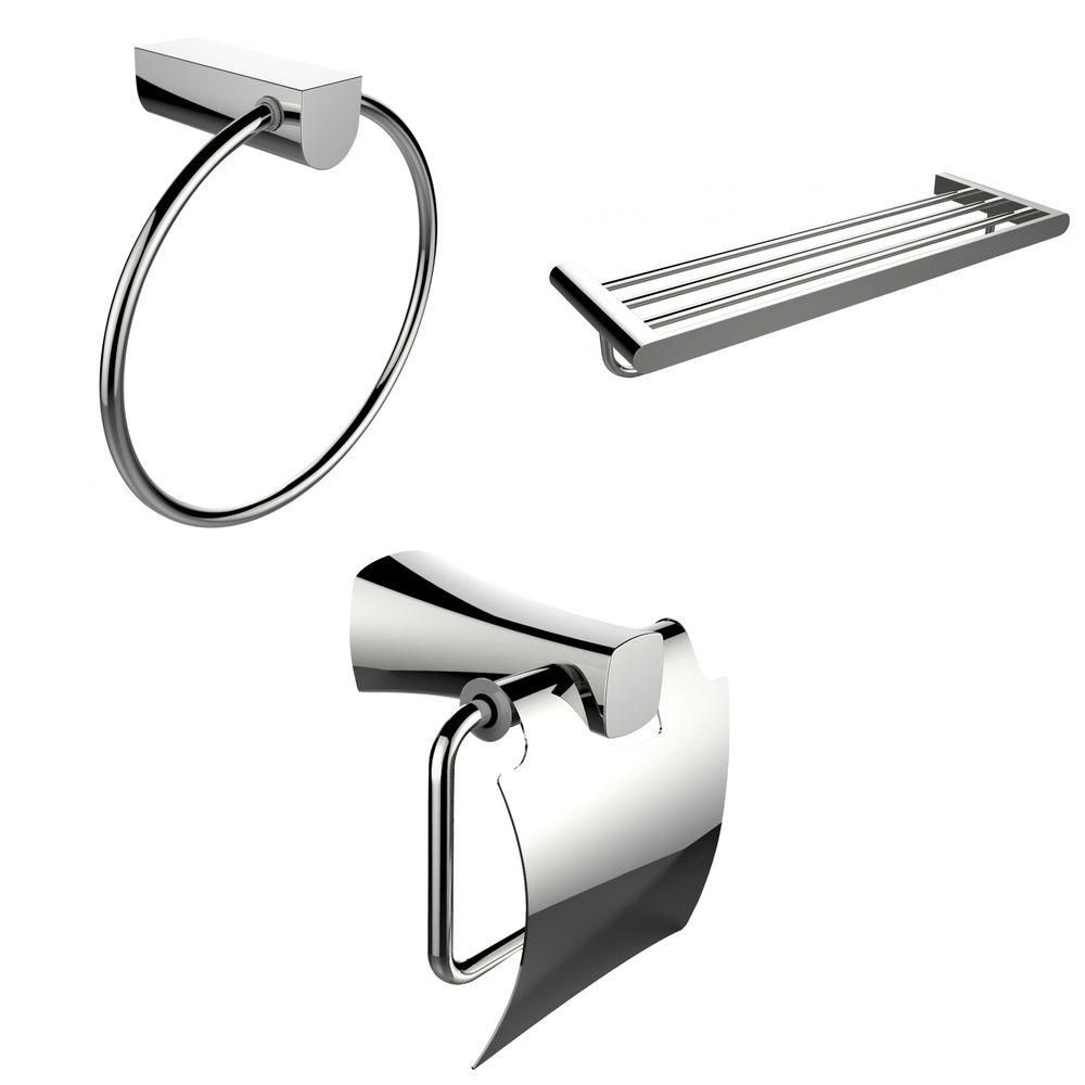 Anneau de serviette de Chrome, multi-Rod Rack de serviette et porte papier toilette Accessory Set