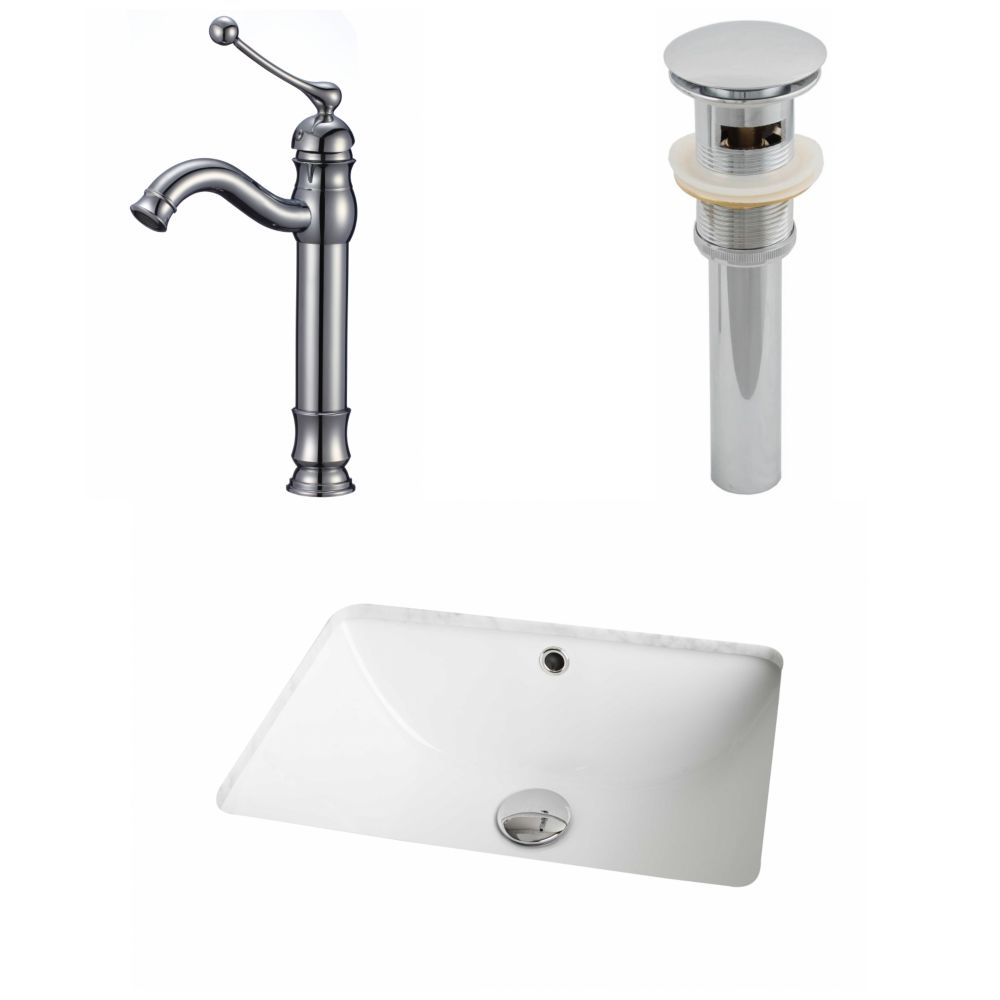 18 1/4-inch W x 13 1/2-inch D Rectangular Sink Set with Deck-Mount Faucet and Drain in White