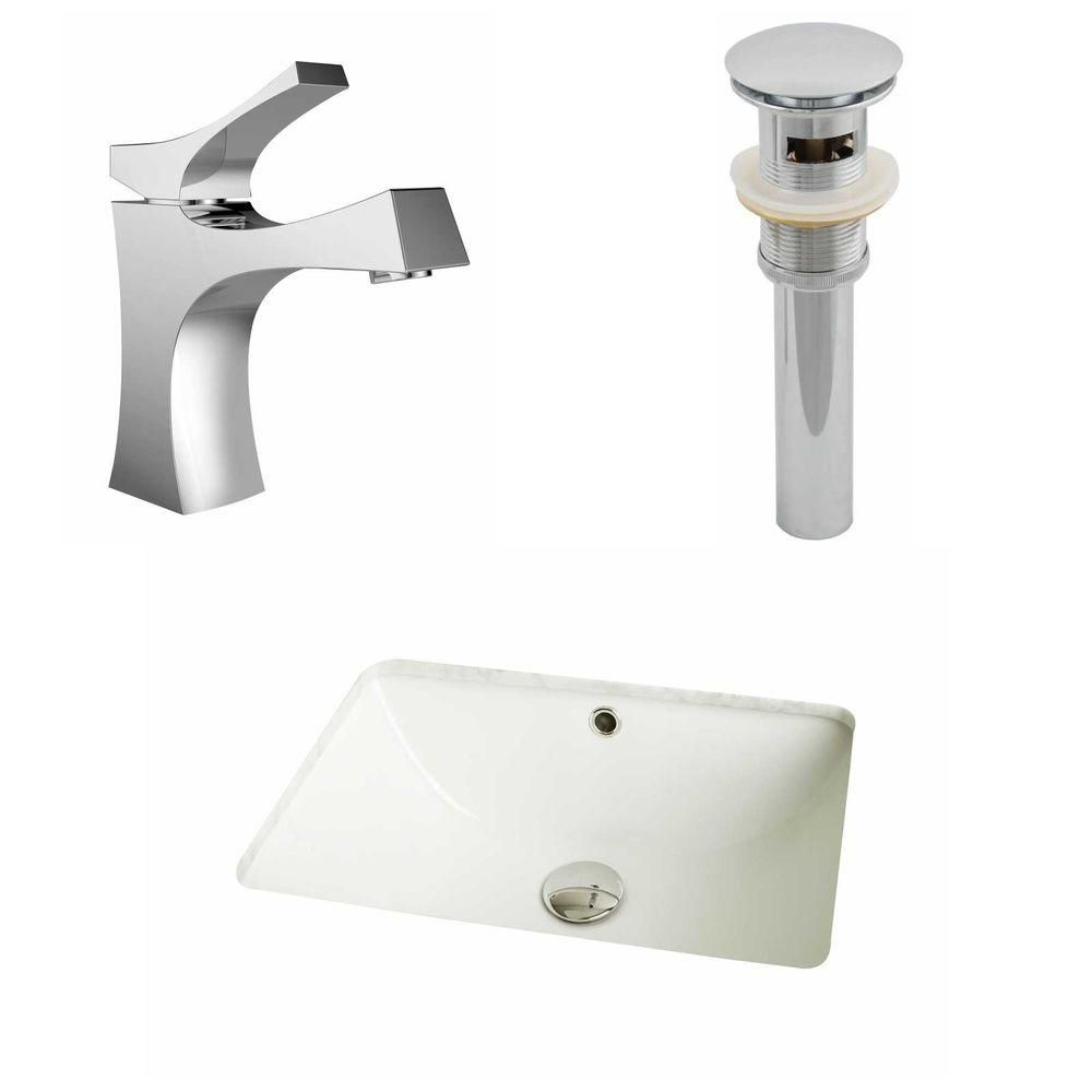 18.25-Inch W x 13.5-Inch D CUPC Rectangle Sink Set In Biscuit With Single Hole CUPC Faucet And Drain AI-12985 Canada Discount