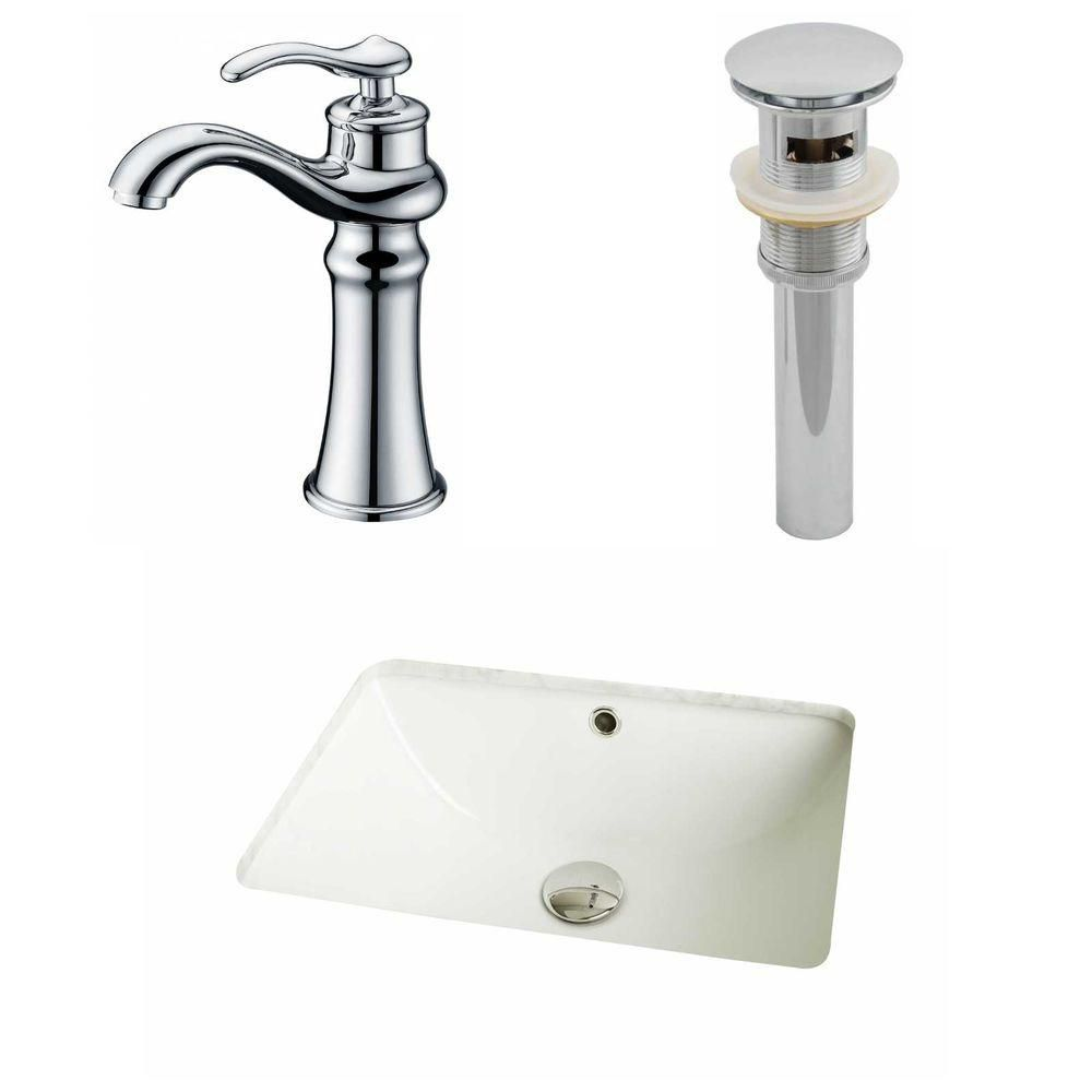 18 1/4-inch W x 13 1/2-inch D Rectangular Sink Set with Deck-Mount Faucet and Drain in Biscuit