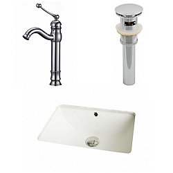 American Imaginations 18 1/4-inch W x 13 1/2-inch D Rectangular Sink Set with Deck-Mount Faucet and Drain in Biscuit