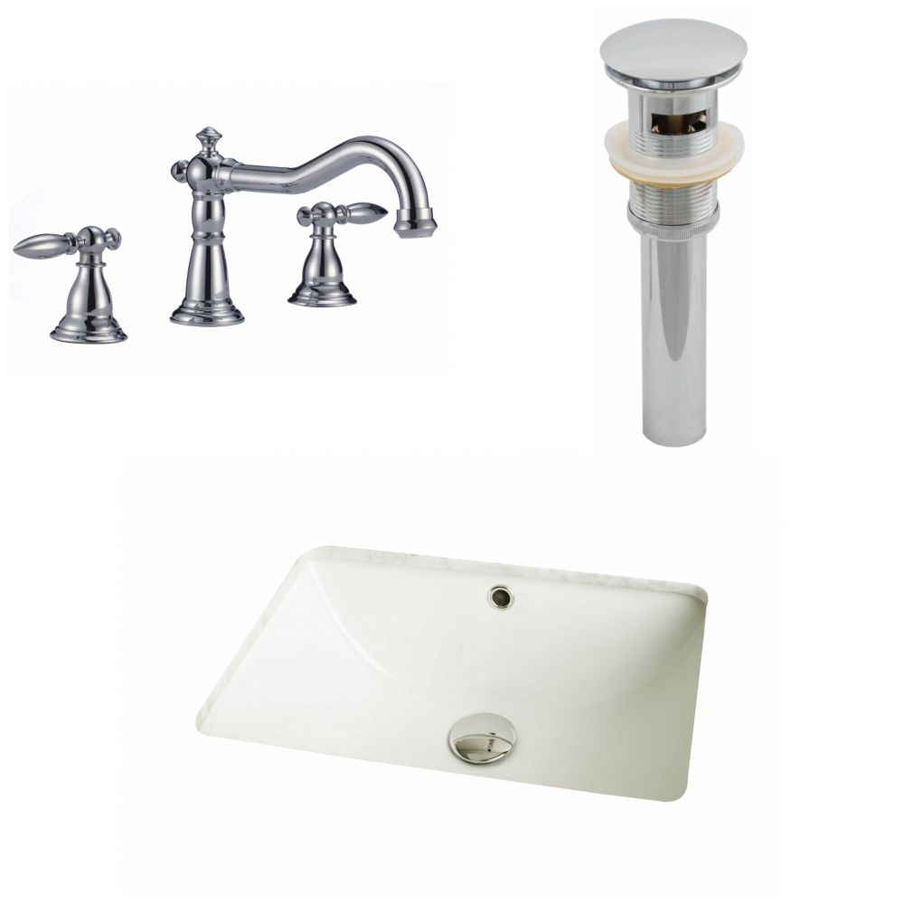 18.25-Inch W x 13.5-Inch D CUPC Rectangle Sink Set In Biscuit With 8-Inch o.c. CUPC Faucet And Drain AI-13011 Canada Discount