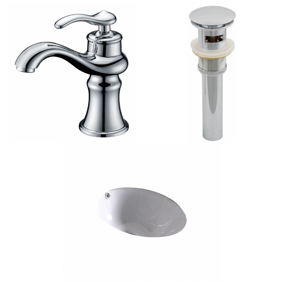 15 1/4-inch W x 15 1/4-inch D Round Sink Set with Single Hole Installation in White