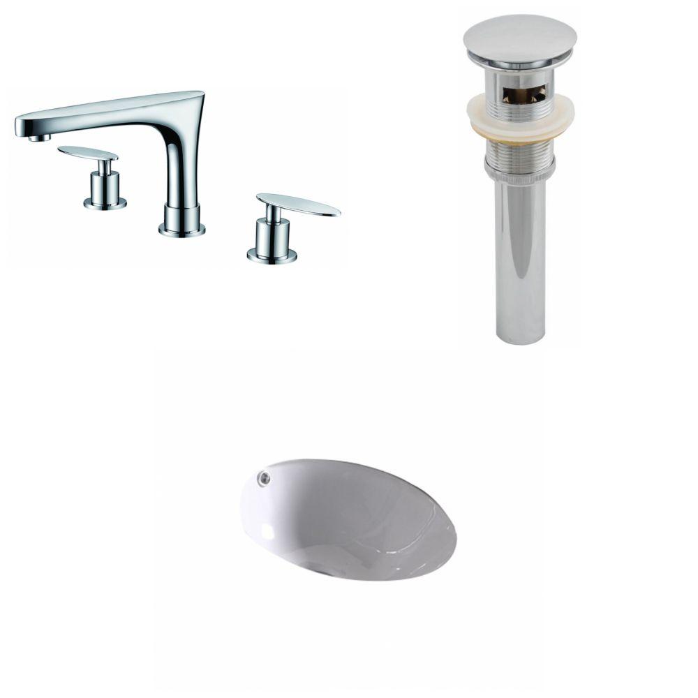 15,25-in. W x 15.25-in. D CUPC ronde Évier Set en blanc avec 8-in. O.C. CUPC robinet et le drain