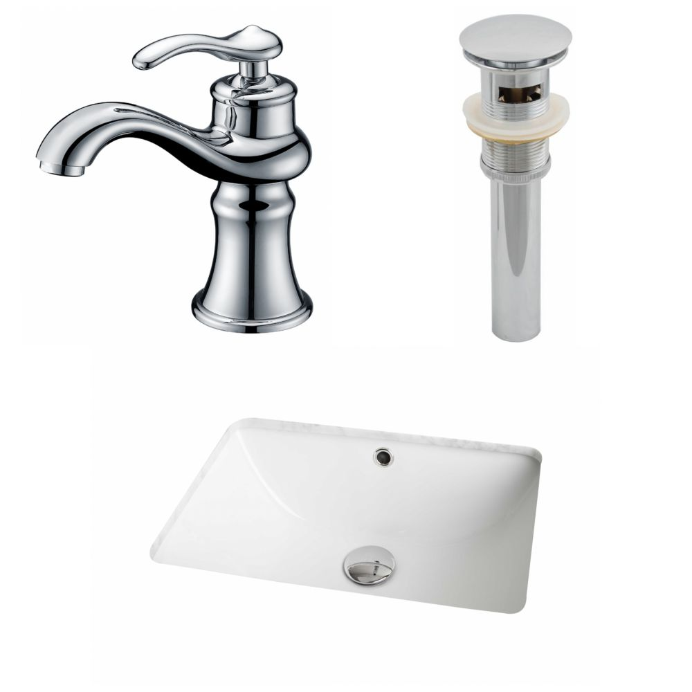 18 1/4-inch W x 13 1/2-inch D Rectangular Sink Set with Single Hole Faucet and Drain in White