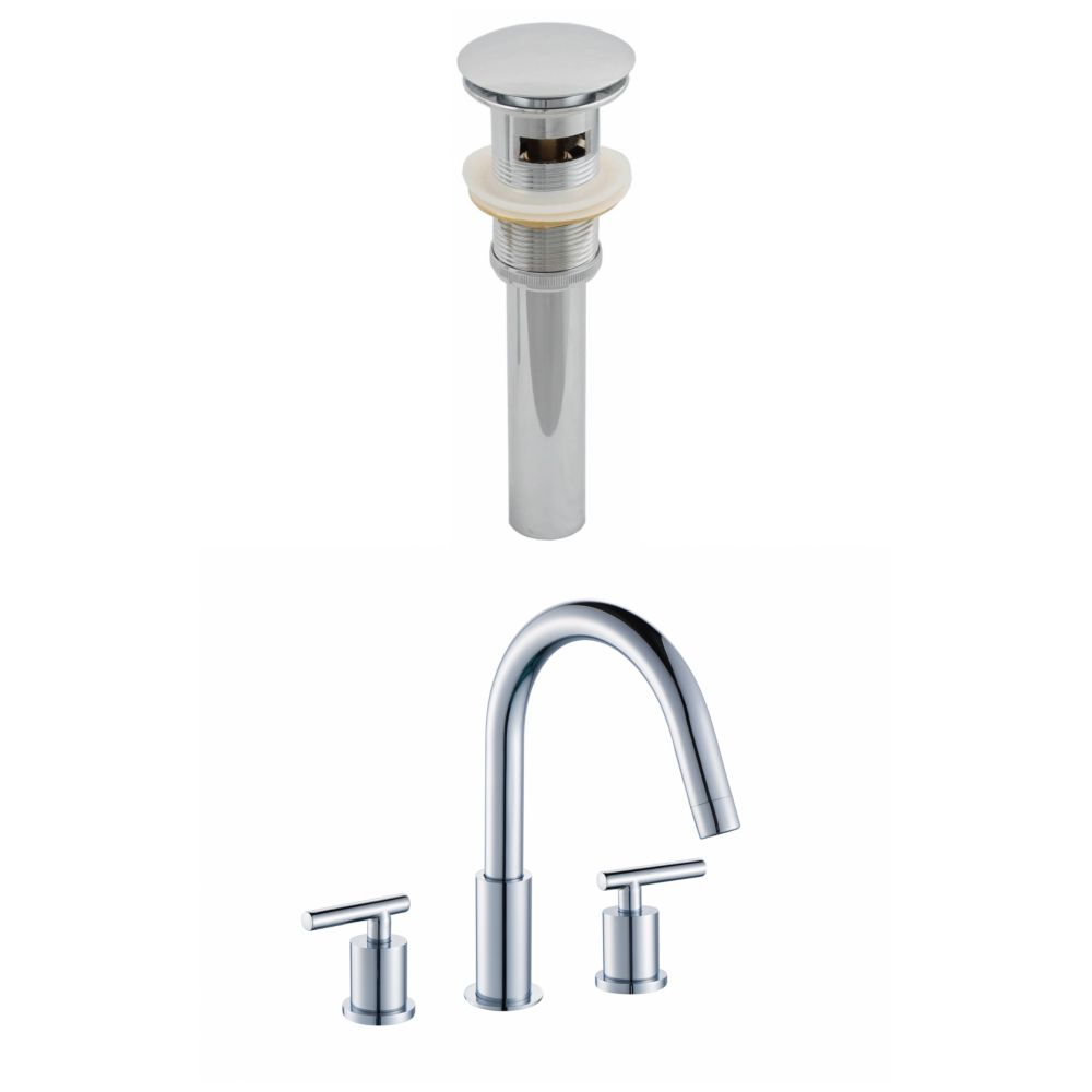 8-inch Brass Bathroom Faucet Set with Drain in Chrome Colour