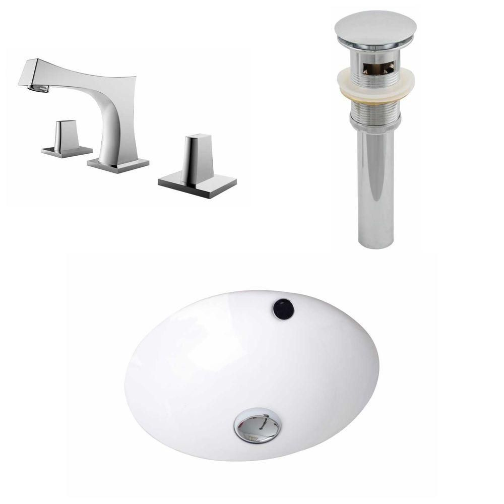 16.5-Inch W x 16.5-Inch D CUPC Round Sink Set In White With 8-Inch o.c. CUPC Faucet And Drain AI-12927 in Canada