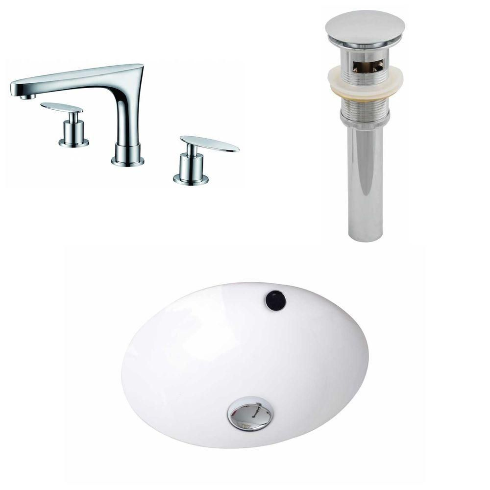 16 1/2-inch W x 16 1/2-inch D Round Sink Set with 8-inch O.C. CUPC Faucet and Drain in White