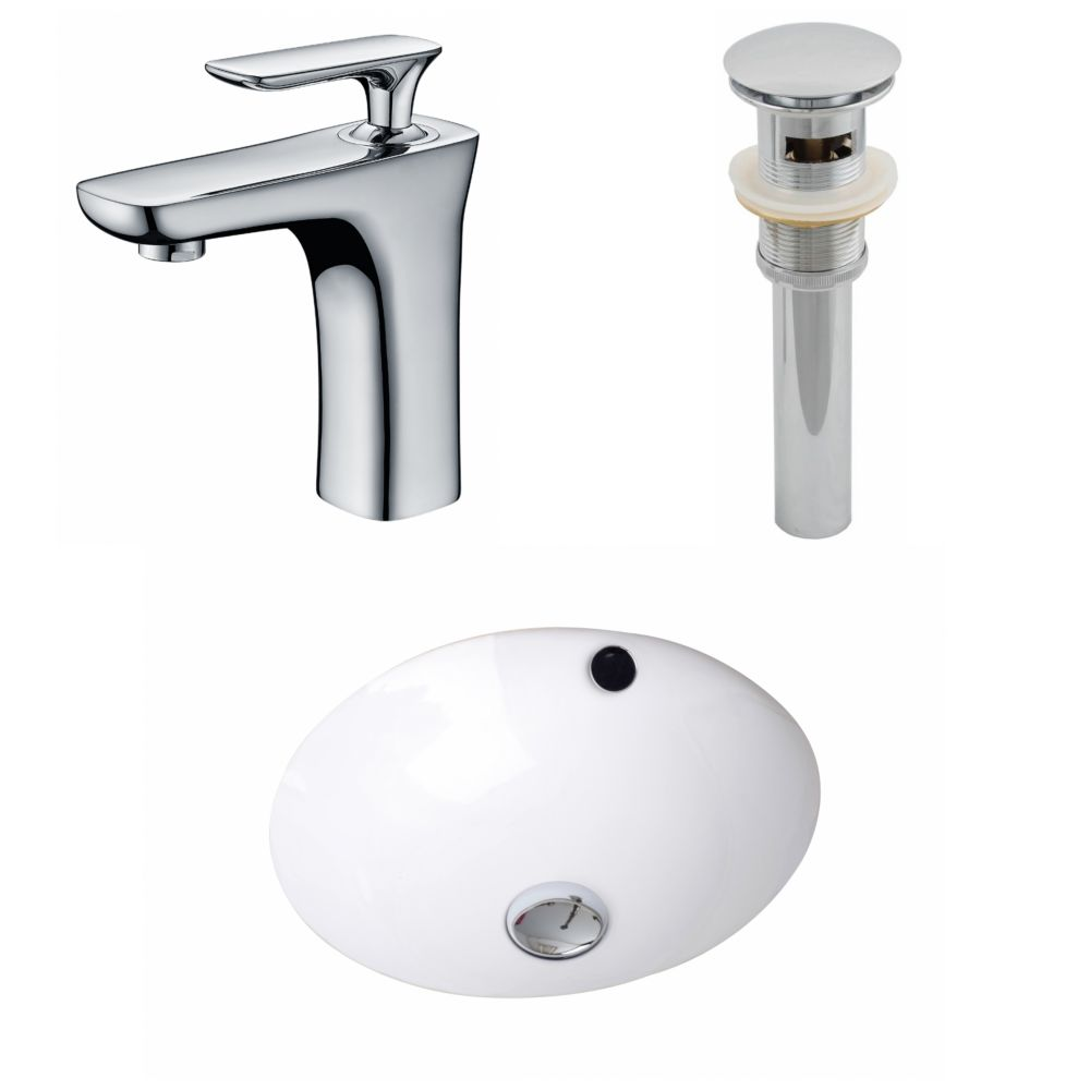 16 1/2-inch W x 16 1/2-inch D Round Sink Set with Single Hole CUPC Faucet and Drain in White