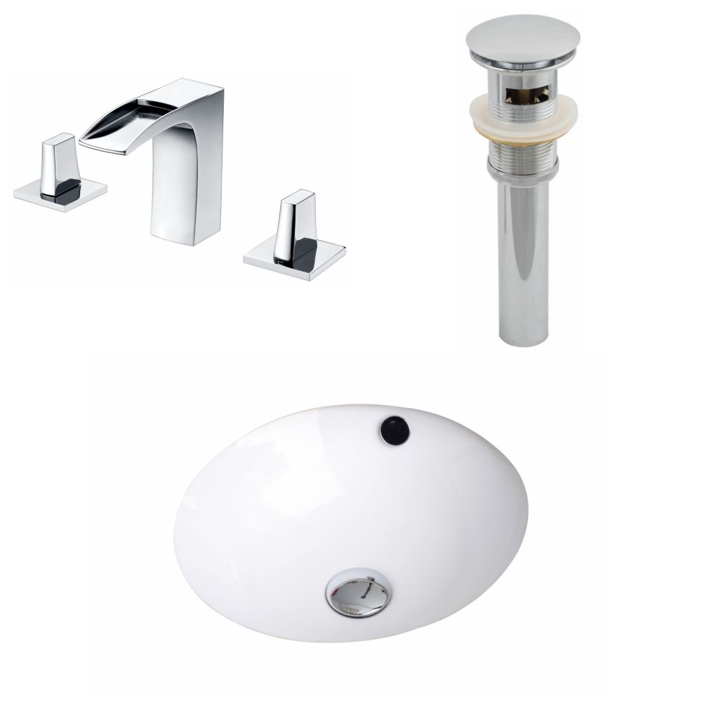 16.5-Inch W x 16.5-Inch D CUPC Round Sink Set In White With 8-Inch o.c. CUPC Faucet And Drain AI-12945 in Canada