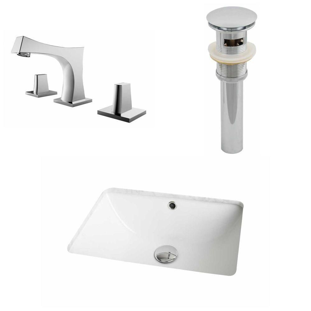 18 1/4-inch W x 13 1/2-inch D Rectangular Sink Set with 8-inch O.C. Faucet and Drain in White