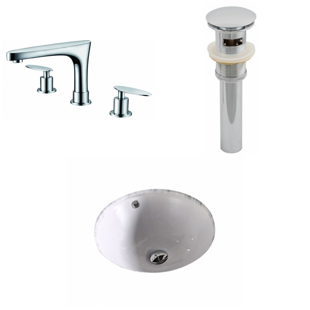 15 3/4-inch W x 15 3/4-inch D Round Sink Set with 8-inch O.C. Holes in White