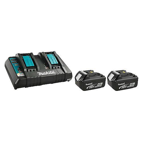 MAKITA 18V 4.0Ah Li-Ion Battery (2-Pack) and Dual-Port Rapid Charger Kit