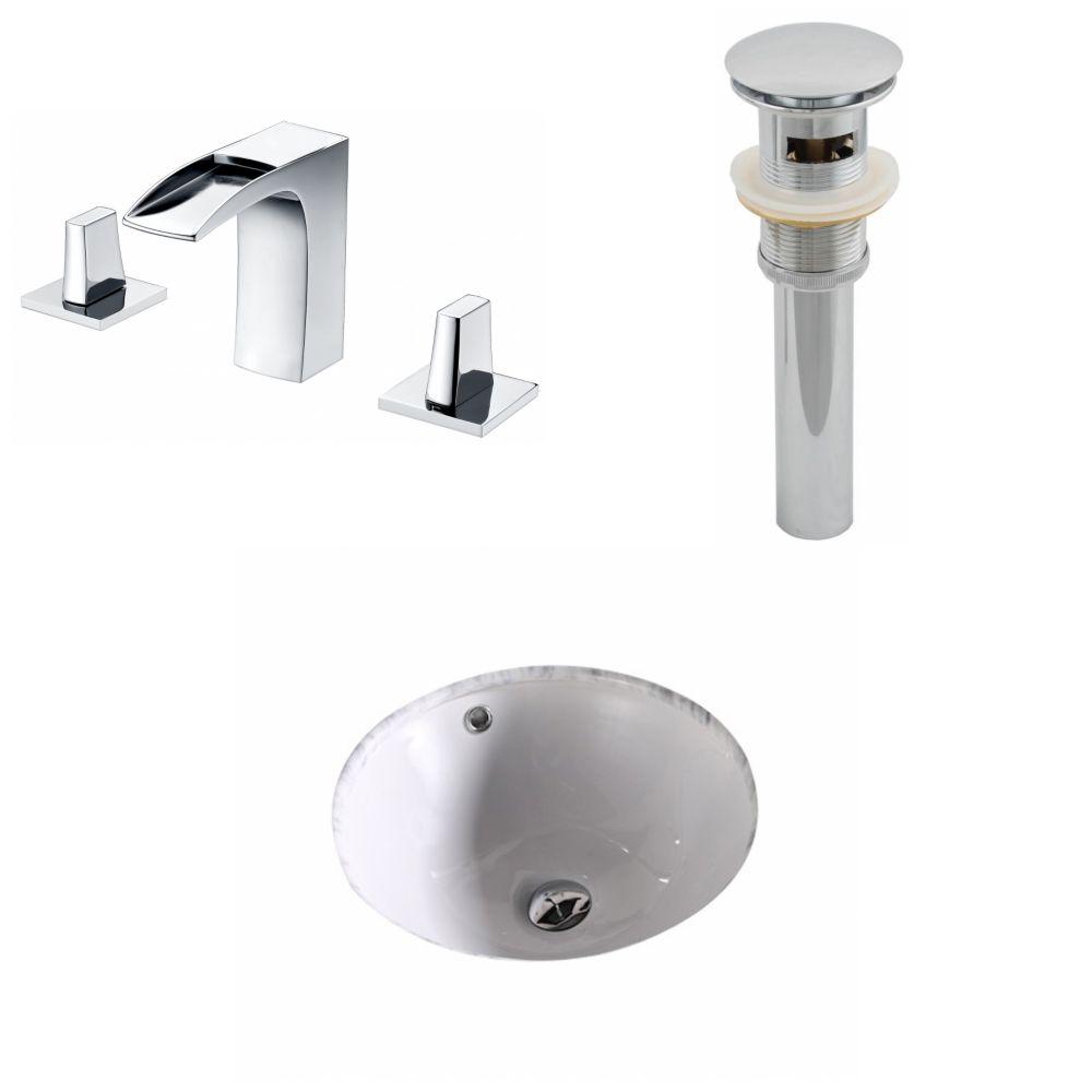 15,75-in. W x 15.75-in. D CUPC ronde Évier Set en blanc avec 8-in. O.C. CUPC robinet et le drain