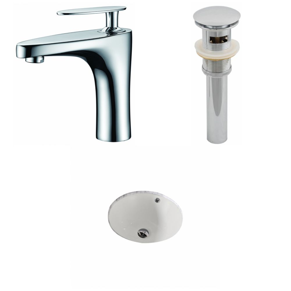 15 1/2-inch W x 15 1/2-inch Round Sink Set with Single Hole Installation in Biscuit