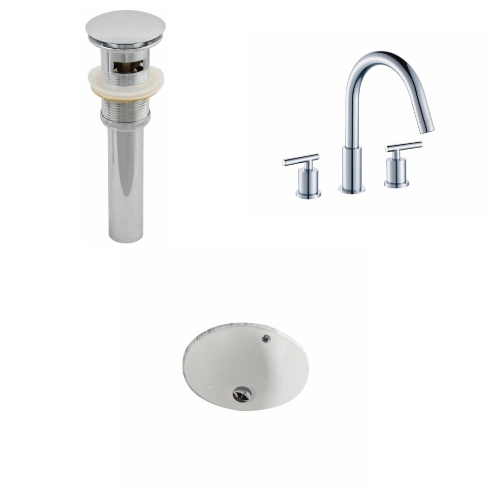 15 1/2-inch W x 15 1/2-inch D Round Sink Set with 8-inch O.C. Holes in Biscuit