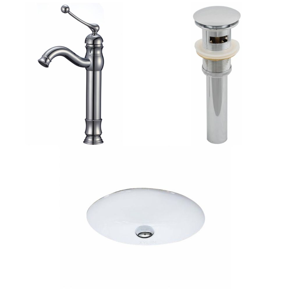 19 1/2-inch W x 16 1/4-inch D Oval Sink Set with Deck-Mount Faucet and Drain in White