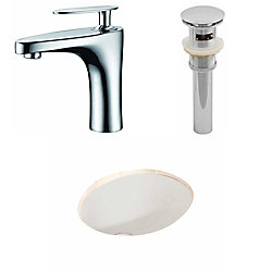 American Imaginations 19 3/45-inch W x 15 3/4-inch D Oval Sink Set with Single Hole Faucet and Drain in Biscuit