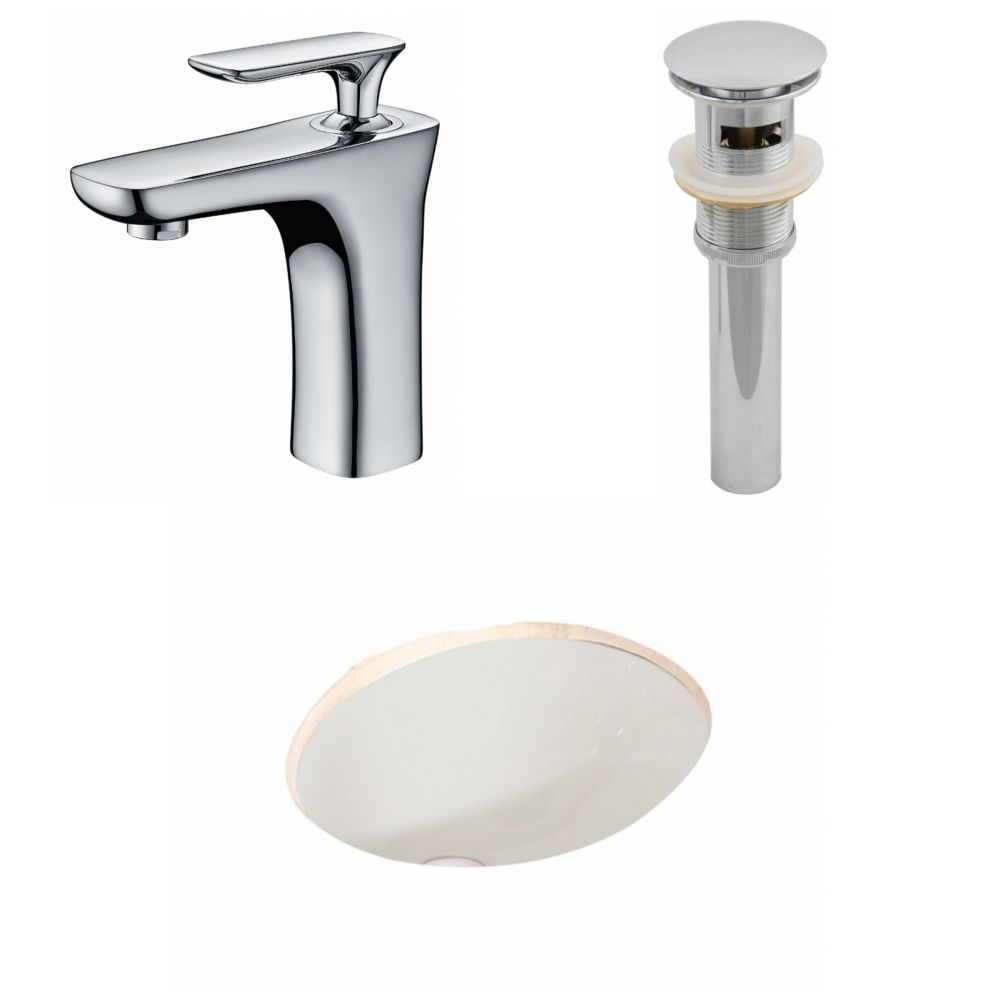 19 3/45-inch W x 15 3/4-inch D Oval Sink Set with Single Hole Faucet and Drain in Biscuit