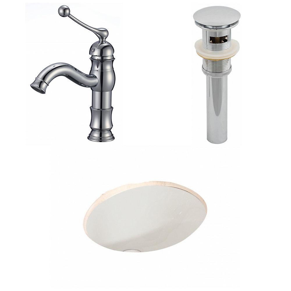19.75-in. W x 15.75-in. D CUPC ovale Évier Set En Biscuit Avec Single Hole CUPC robinet et le drain