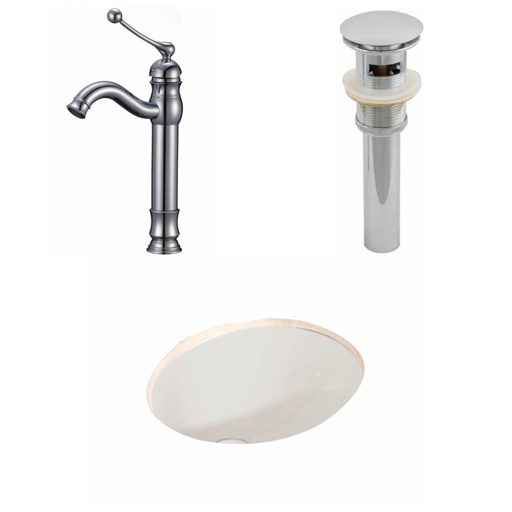 19 3/45-inch W x 15 3/4-inch D Oval Sink Set with Deck-Mount Faucet and Drain in Biscuit
