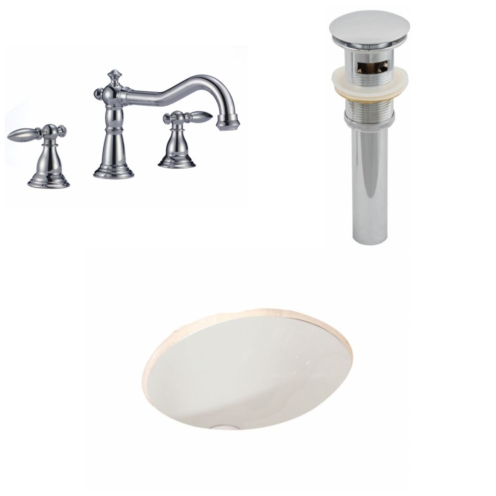19 3/45-inch W x 15 3/4-inch D Oval Sink Set with 8-inch O.C. Faucet and Drain in Biscuit