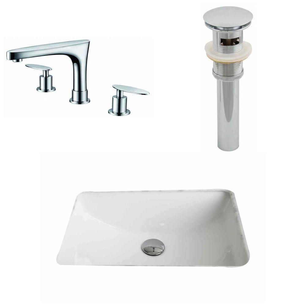 American Imaginations 20 3/4-inch W x 14 7/20-inch D Rectangular Sink Set with 8-inch O.C. Faucet and Drain in White