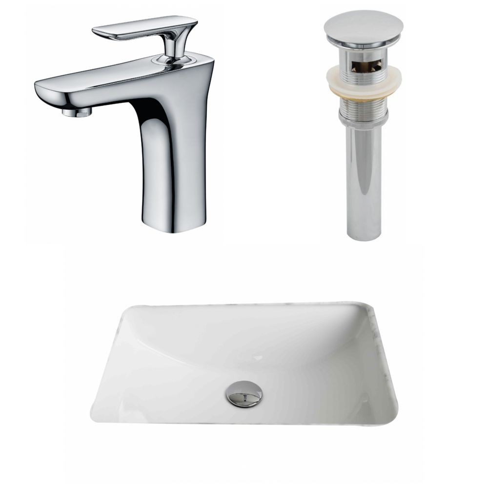 20 3/4-inch W x 14 7/20-inch D Rectangular Sink Set with Single Hole Faucet and Drain in White