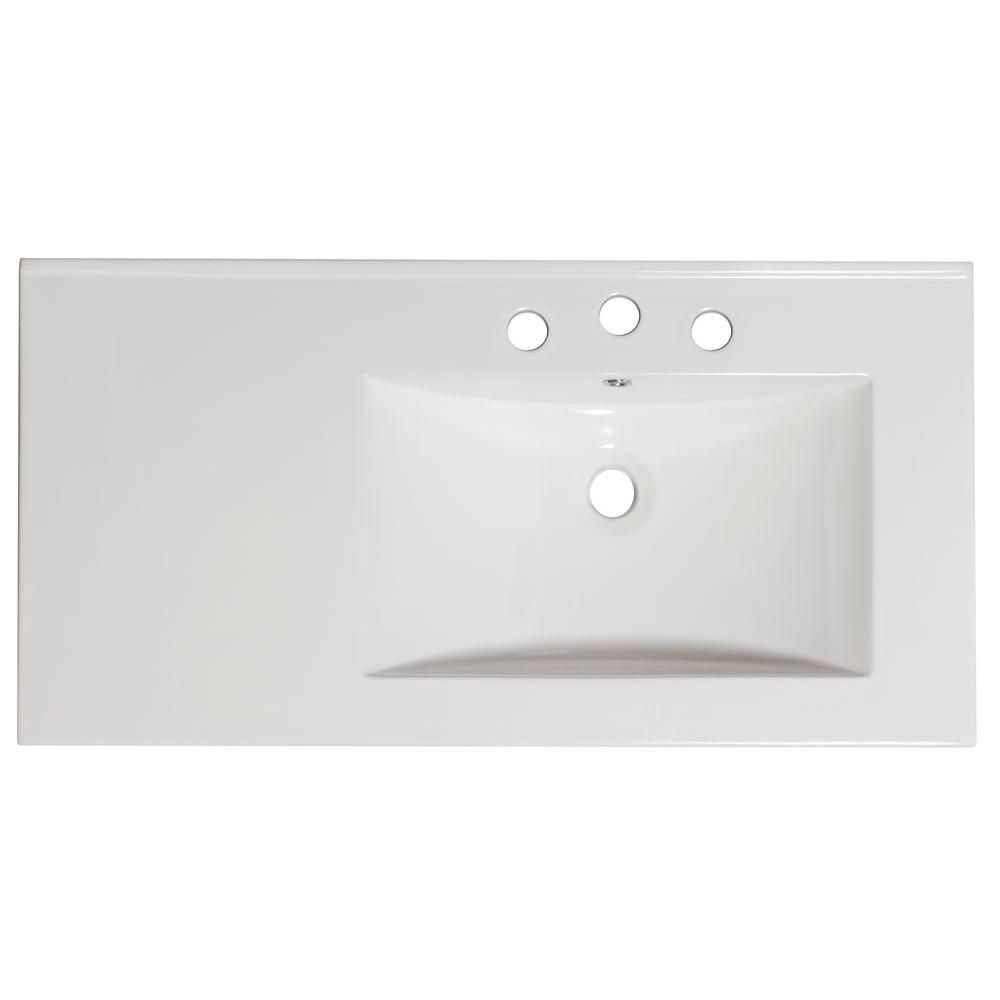American Imaginations 36-inch W x 18 1/2-inch D Ceramic Top for 8-inch O.C. Faucet in White