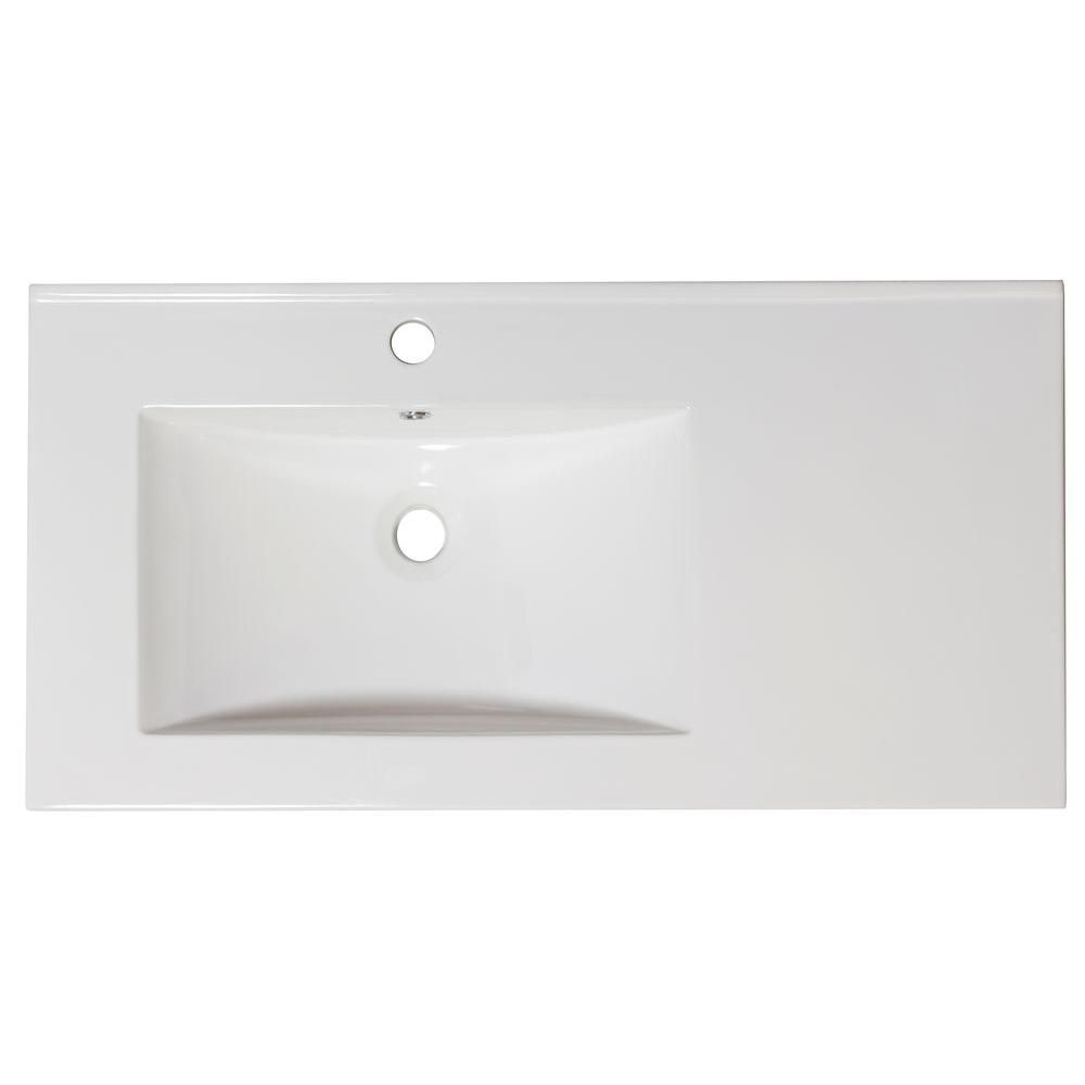 36-inch W x 18 1/2-inch D Ceramic Top for Single Hole Faucet in White