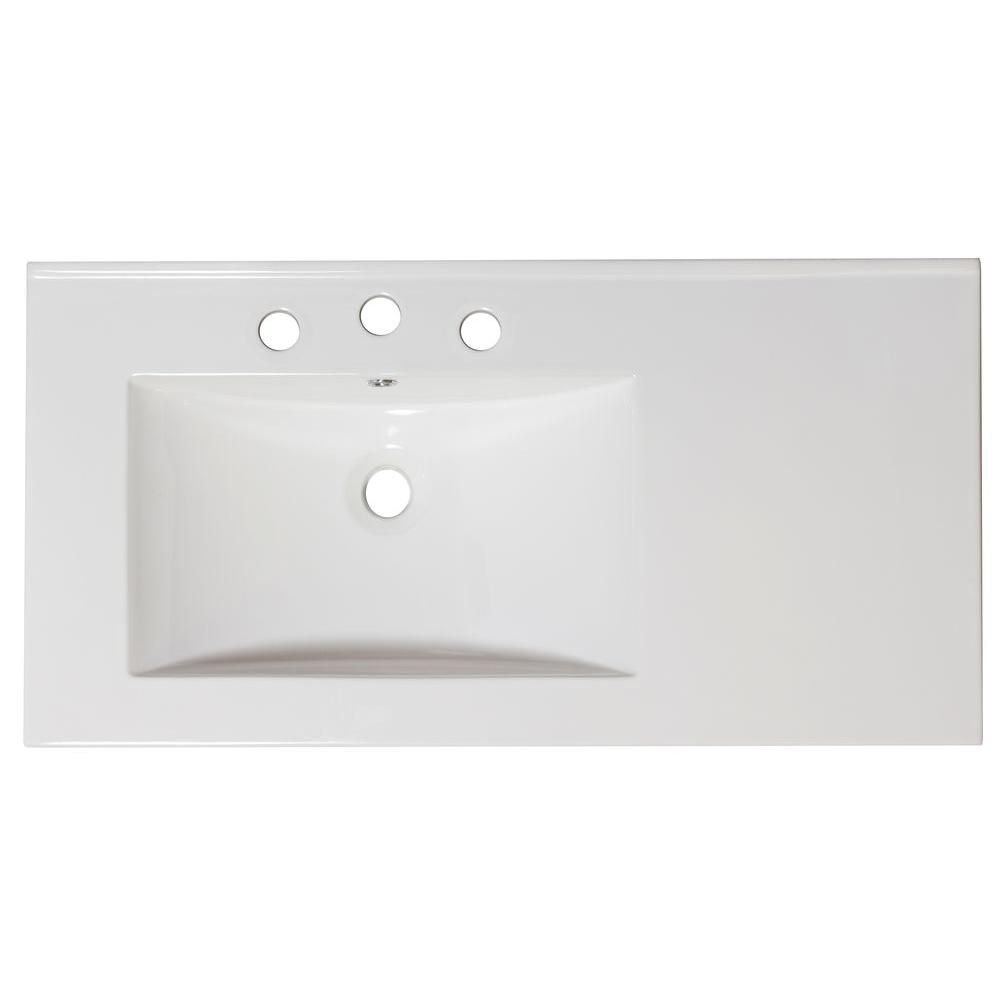 36-inch W x 18 1/2-inch D Ceramic Top for 4-inch O.C. Faucet in White