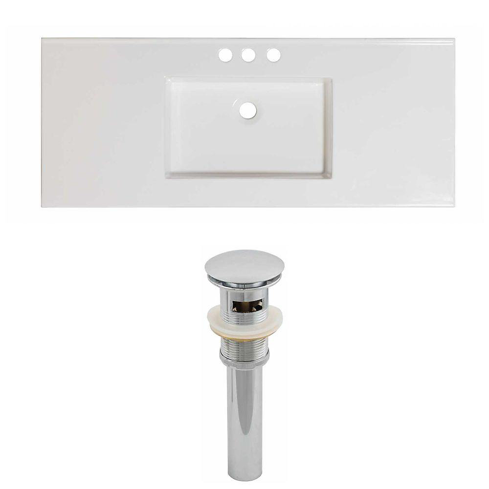 48-inch W x 20-inch D Ceramic Top Set with Drain in White