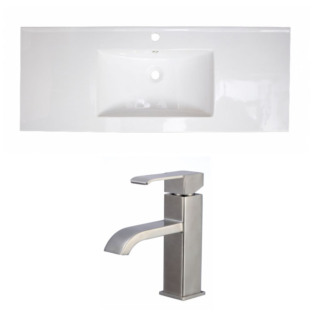 40-inch W x 18-inch D Ceramic Top with Single Hole Faucet in White