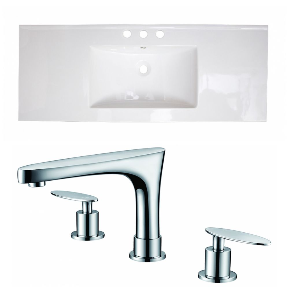 American Imaginations 40-inch W x 18-inch D Ceramic Top with 8-inch O.C. Faucet in White