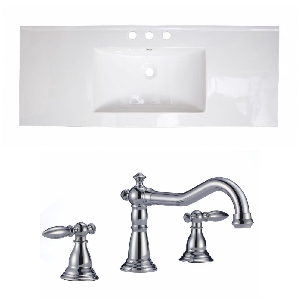 40-inch W x 18-inch D Ceramic Top with 8-inch O.C. Faucet in White