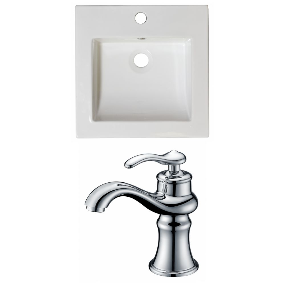 16.5-Inch W x 16.5-Inch D Ceramic Top Set In White Color With Single Hole CUPC Faucet AI-16016 Canada Discount
