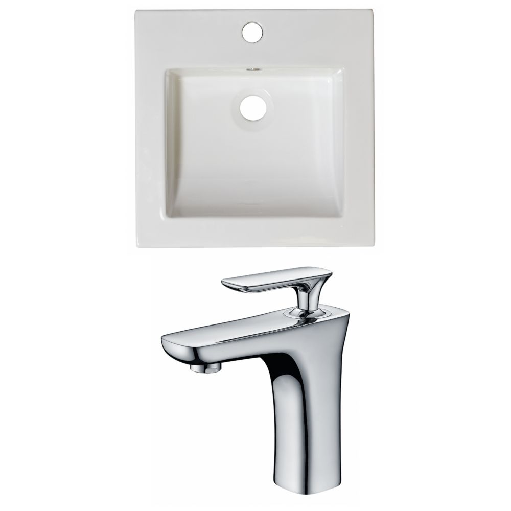 16.5-in. W x 16.5-in. D Céramique Top Set In White Couleur Avec Single Hole CUPC Robinet