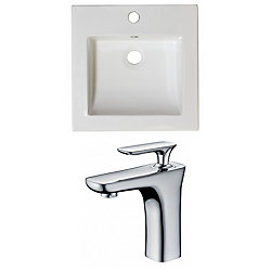American Imaginations 16 1/2-inch W x 16 1/2-inch D Ceramic Top Set with Single Hole CUPC Faucet in White