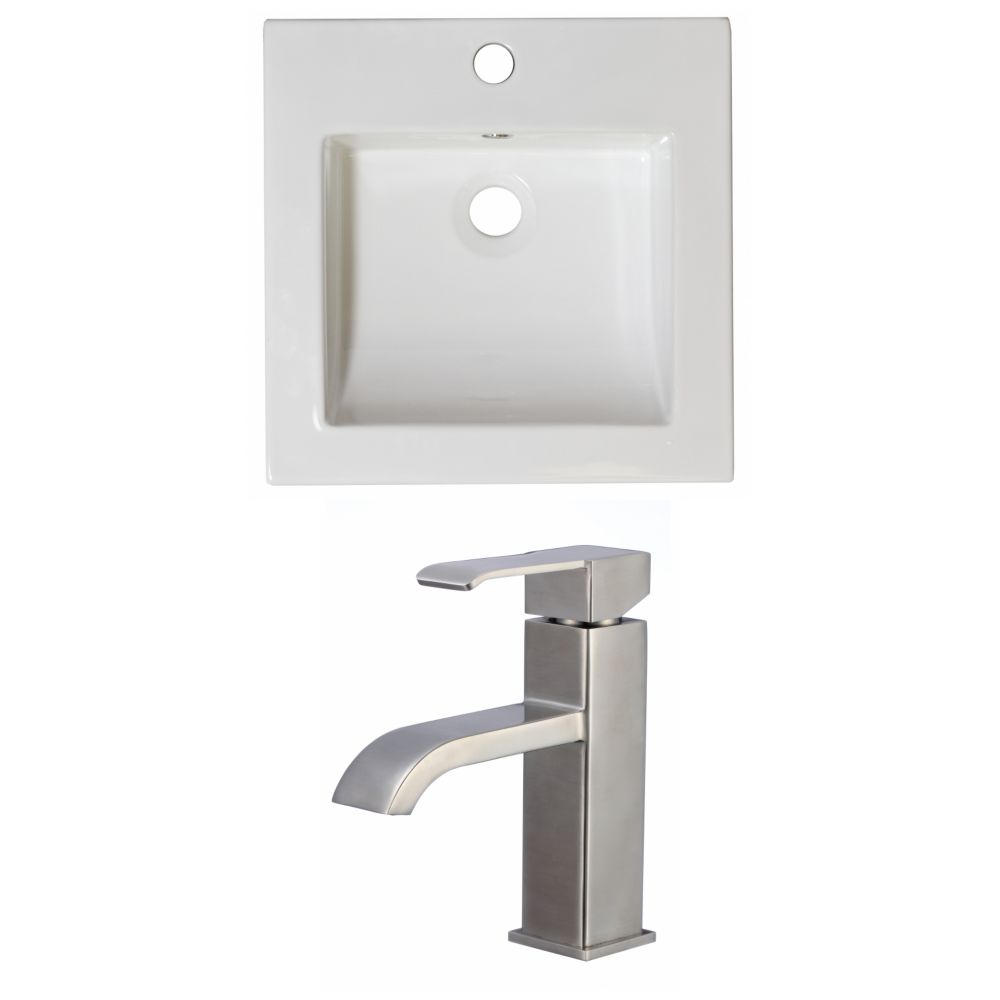 16 1/2-inch W x 16 1/2-inch D Ceramic Top Set with Single Hole CUPC Faucet in White