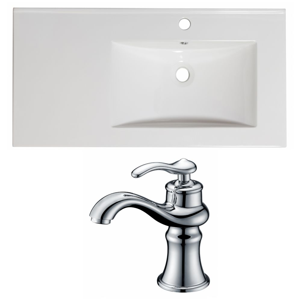 36-inch W x 18 1/2-inch D Ceramic Top Set with Single Hole Faucet in White