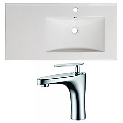 American Imaginations 36-inch W x 18 1/2-inch D Ceramic Top Set with Single Hole Faucet in White