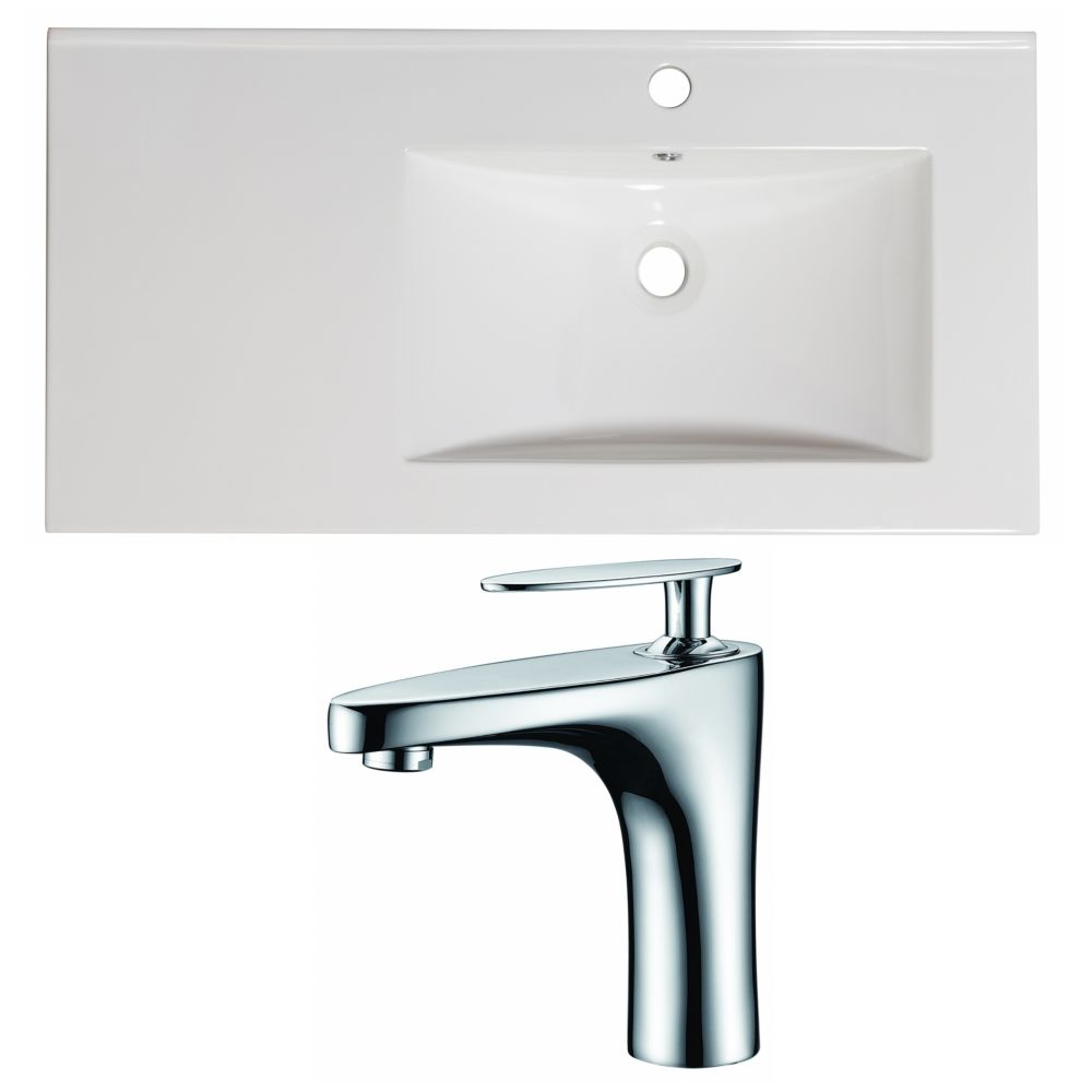 36-in. W x 18.5-in. D Céramique Top Set In White Couleur Avec Single Hole CUPC Robinet