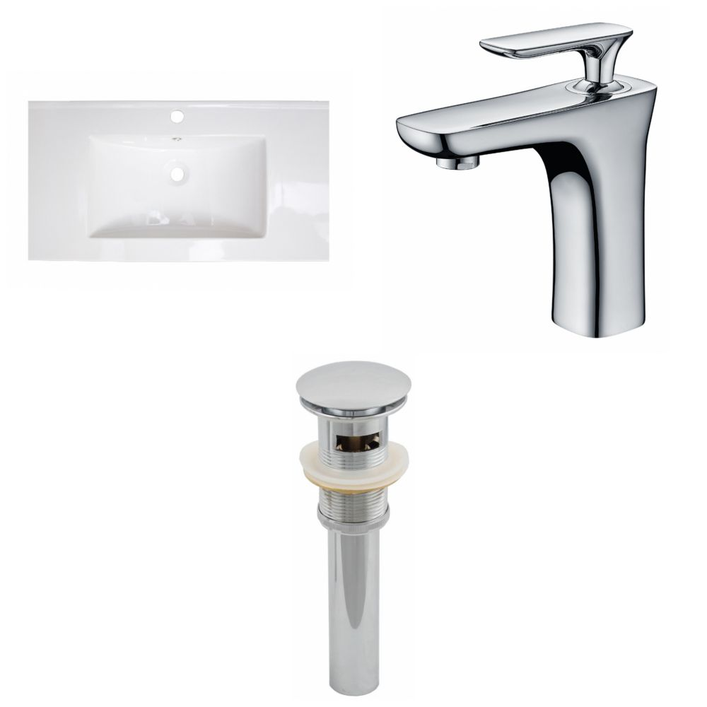 36-inch W x 20-inch D Ceramic Top Set with Single Hole Faucet and Drain in White