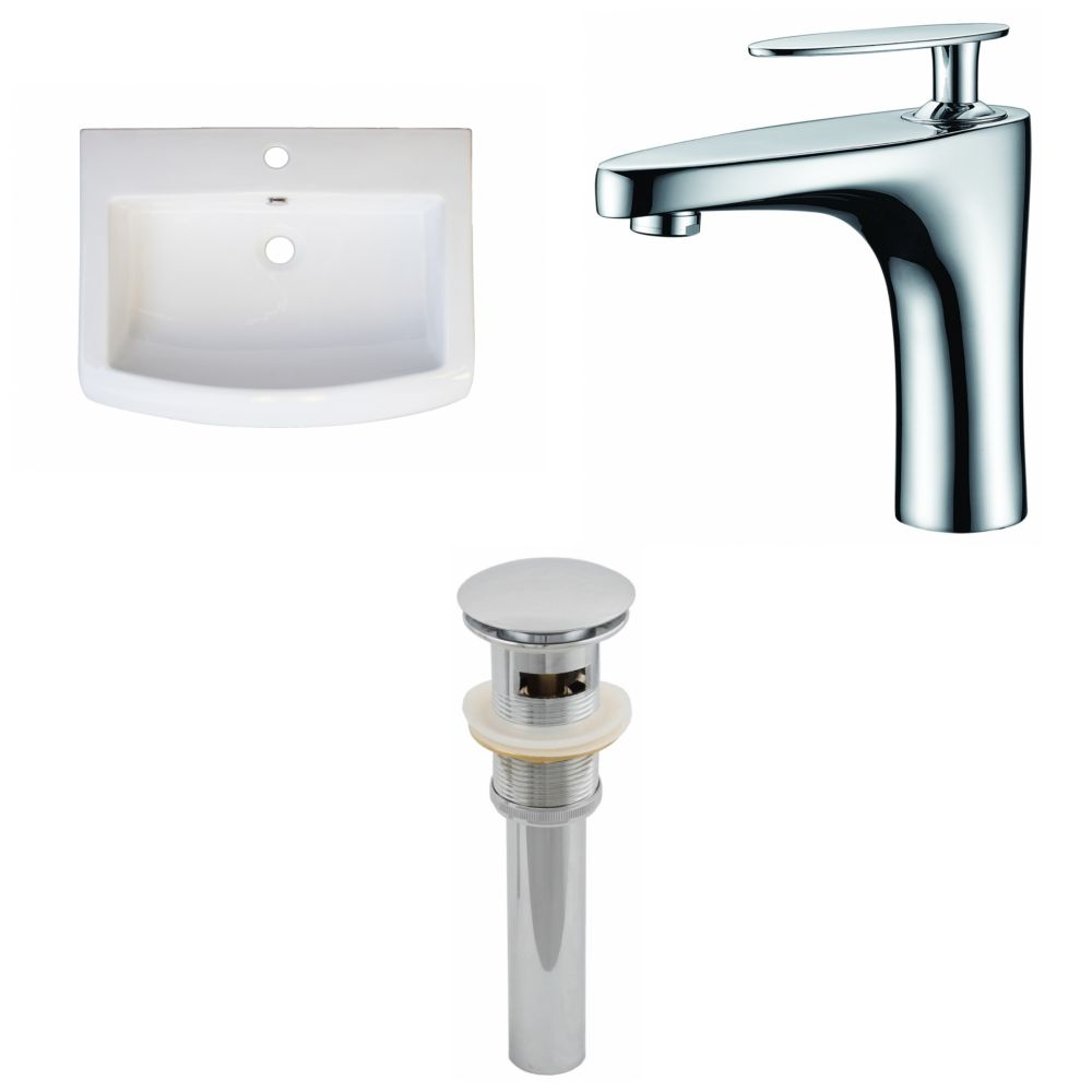 24-Inch W x 18-Inch D Ceramic Top Set In White Color With Single Hole CUPC Faucet And Drain AI-16585 Canada Discount